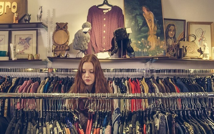 girl buying clothes for her