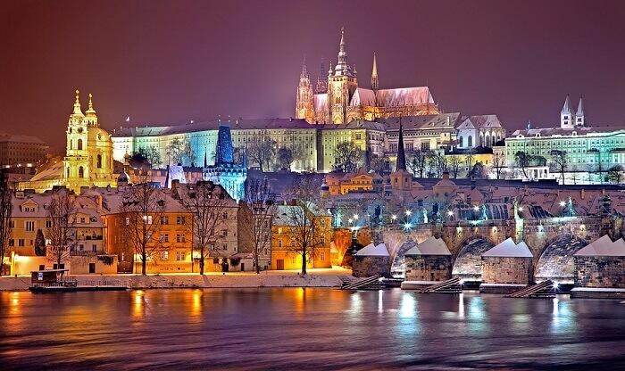 Night Snow Prague Castle Winter Prague