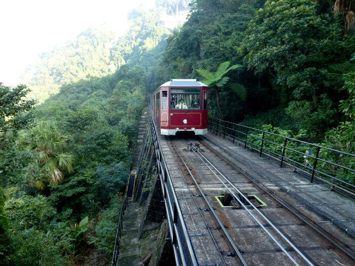 Ride on the peak tram