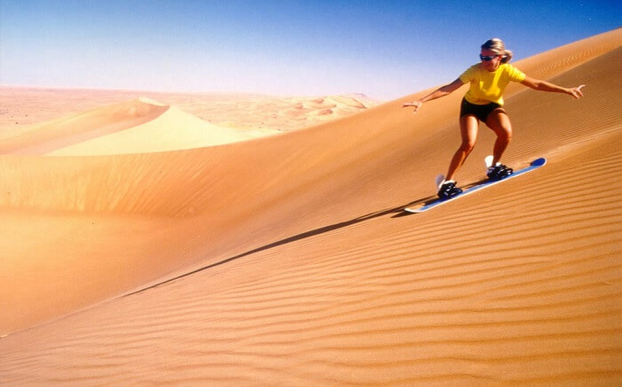 Sand boarding in Desert