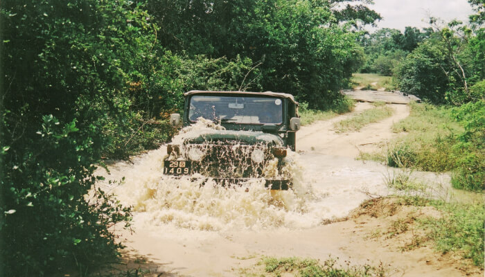 jeep in water