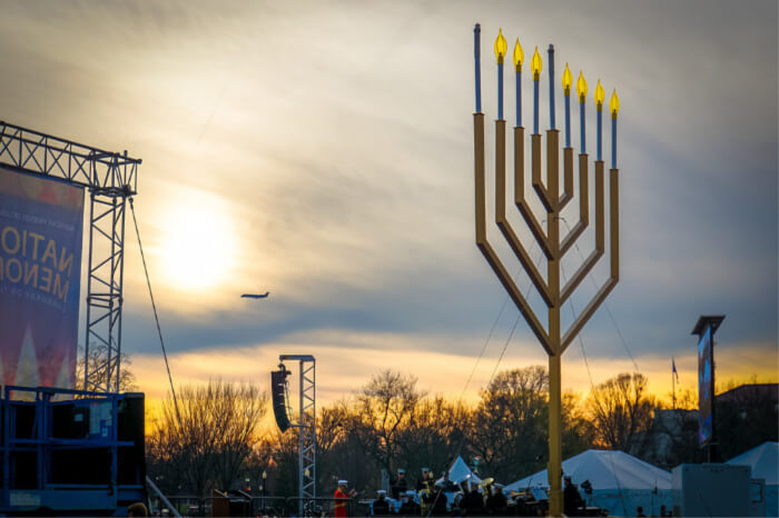 Witness the lighting of the Menorah on Hanukkah