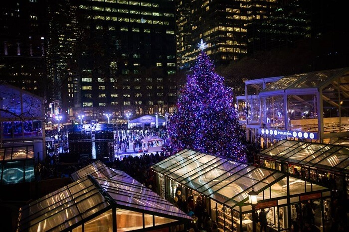 Beautiful view of winter village in Bryant Park
