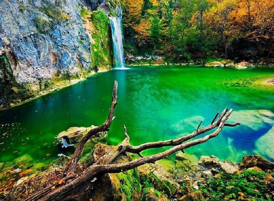 waterfall in water