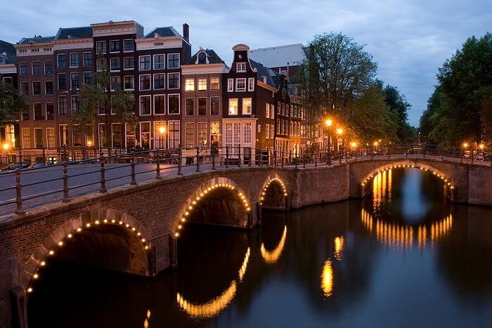 city lights during dusk