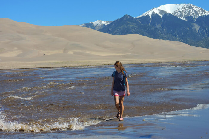 A woman walking along the waves at A mountain deer at Great Sand Dunes National Park