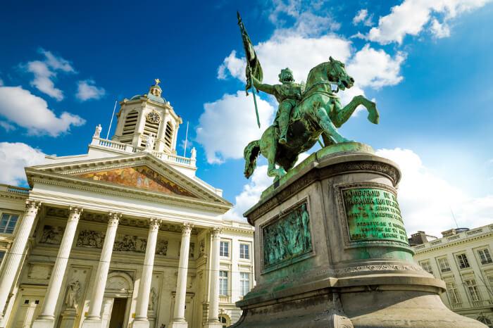 A warrior travel statue in Belgium