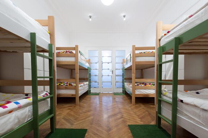 Bunker beds in a hostel room