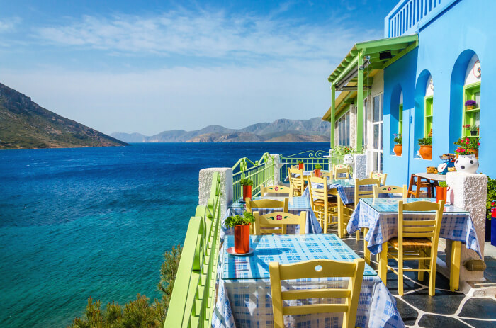 Balcony view of a restaurant in Greece