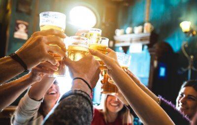 friends doing cheers
