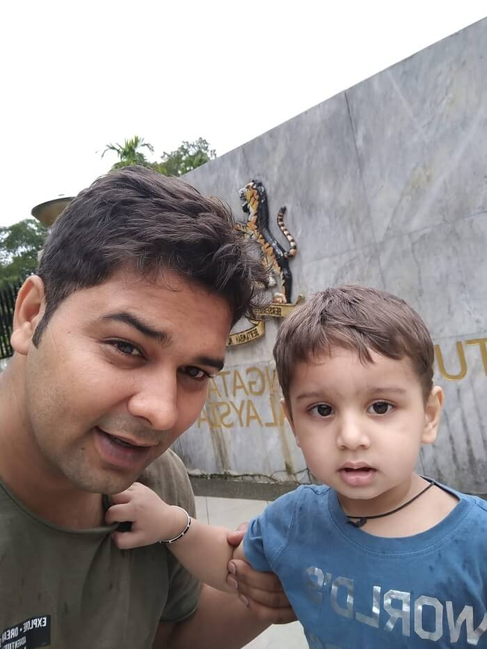 me and my son at theme park