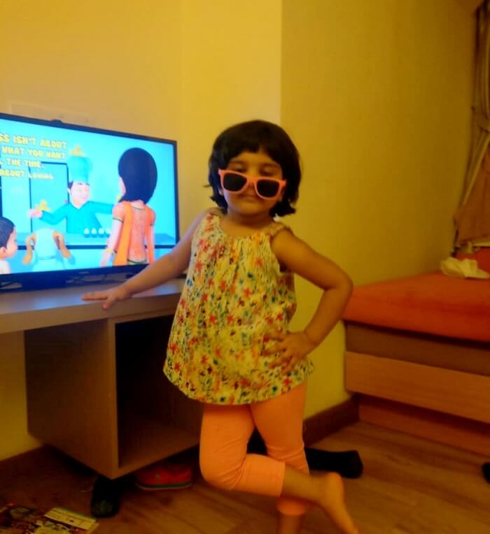 My daughter watching television
