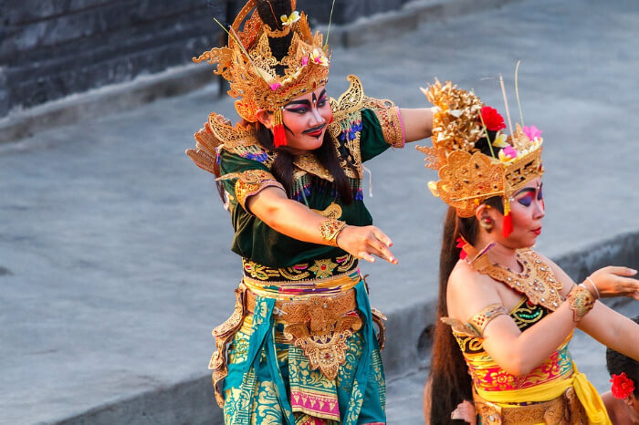 Artists performing Kecak Dance in Uluwatu temple