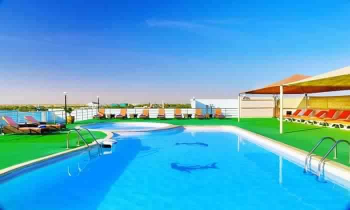 Pool view in hostel