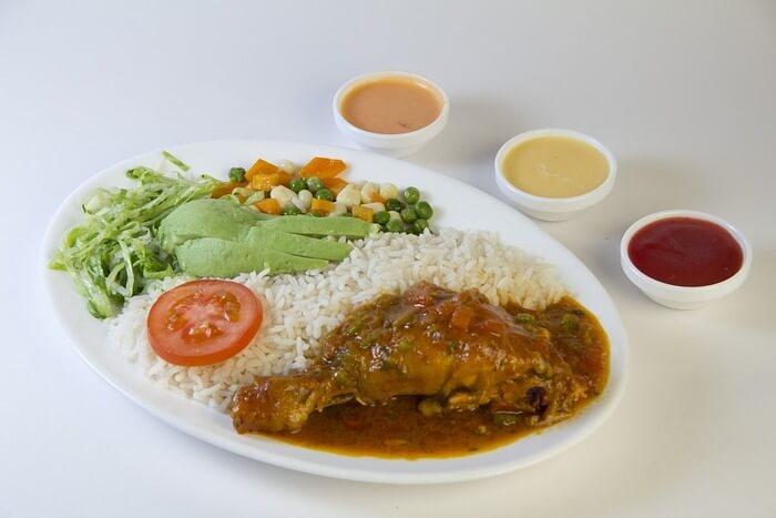 Dry Chicken Rice Salad Food