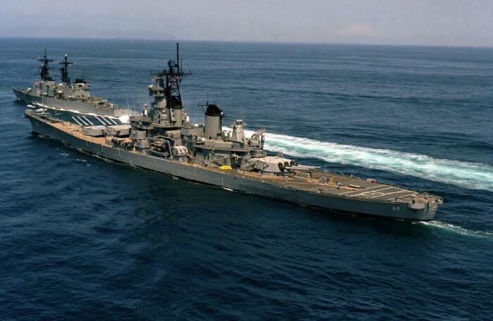 Aerial port quarter view of the battleship