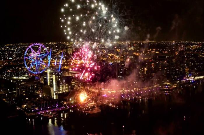 fireworks at the Docklands