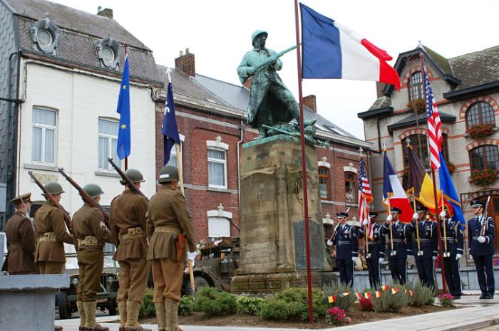 A warriors statue in Belgium