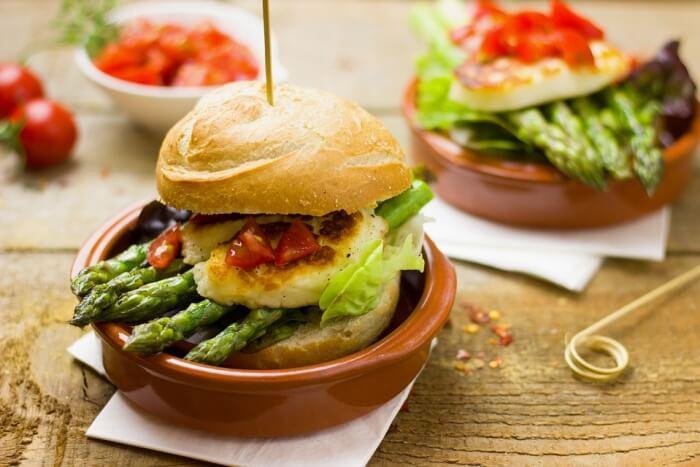 Healthy Vegetarian Burger Hamburger Eat Asparagus