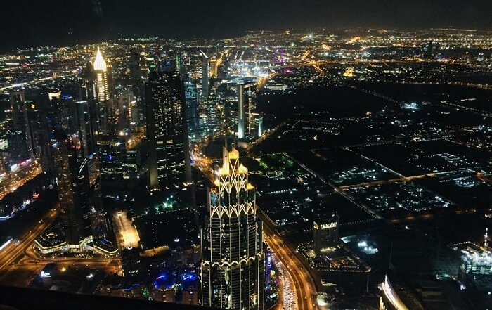 Dubai city view at night