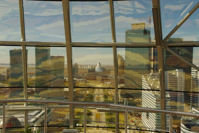 View From Inside the Golden Glass Dome of the Baiterek Tower