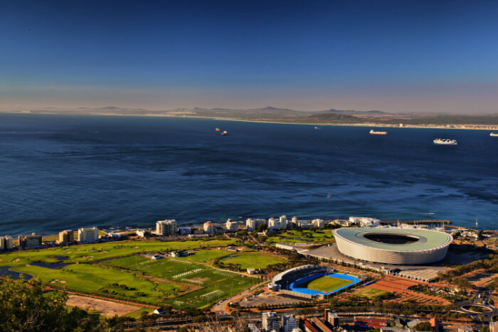 An aerial view of the Cape Town South Africa