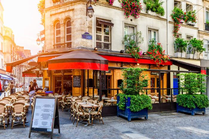 An open air French restaurant