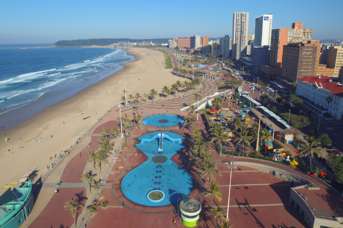 An aerial view of Durban in South Africa