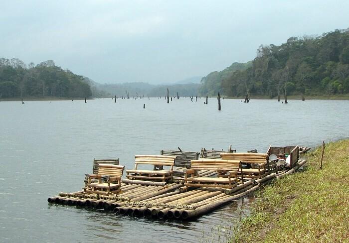 Go Bamboo Rafting in Periyar Lake in Kerala