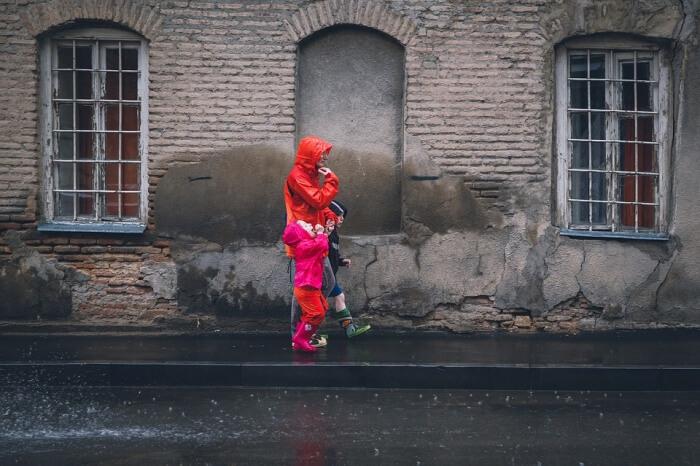 Rain Street Portrait Color Eople Kids Raincoat