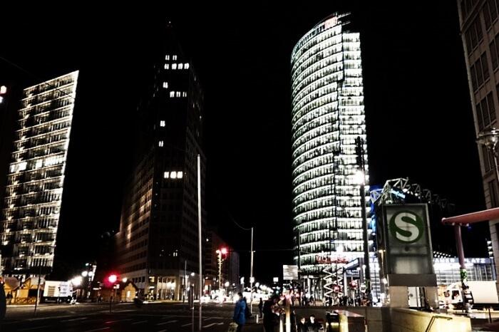 Skyline Night Capital Berlin Potsdam Place Germany