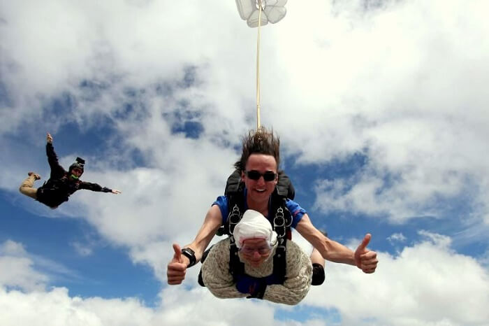 Oldest woman skydiving