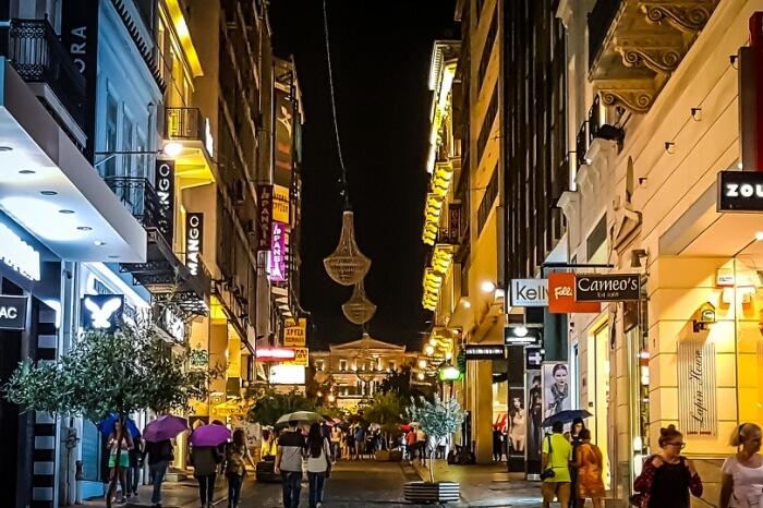 Life Nightlife Athens Evening Night Shopping