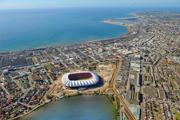 An aerial view of Port Elizabeth in South Africa