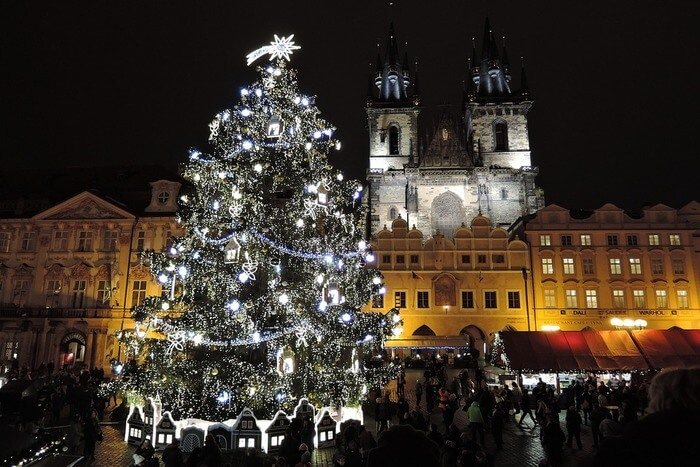 Red Square Christmas Tree at night