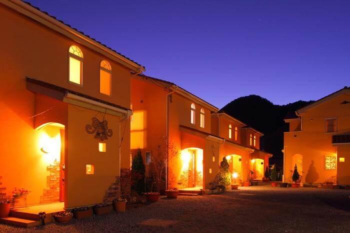 Villa view at night