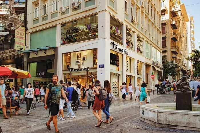 shopping street in athens