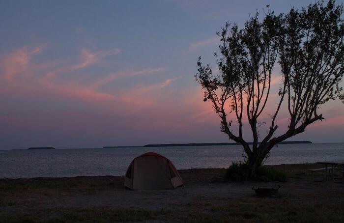 Camping in coastal area
