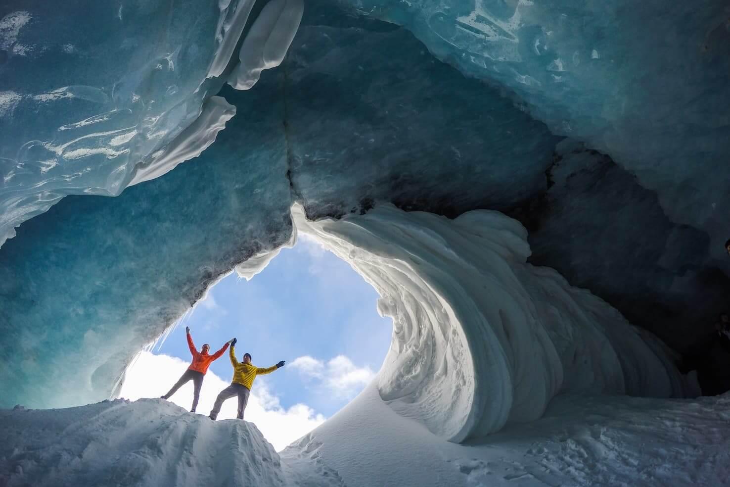 travelers enjoying in snow