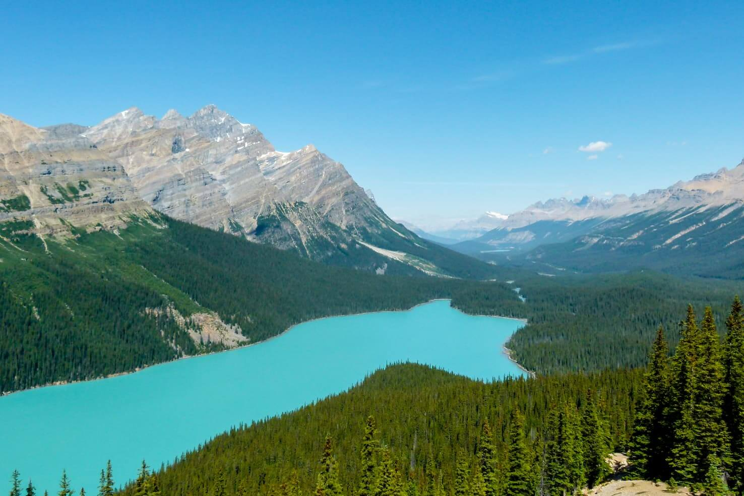 beautiful blue lake in Canadian rockies