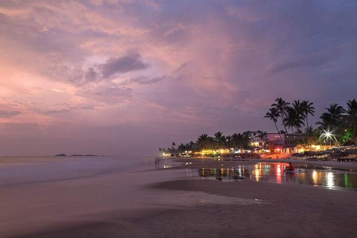 a beach during night in weligama