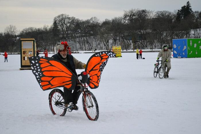 Ride an ice bike