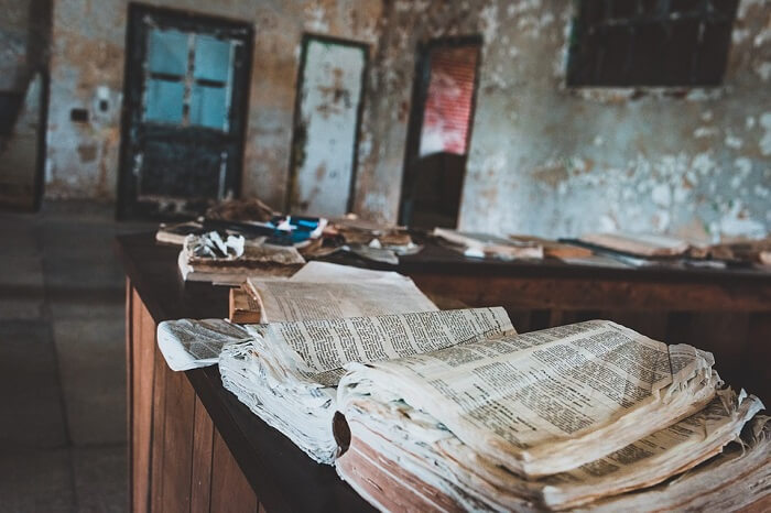 classroom with old book open
