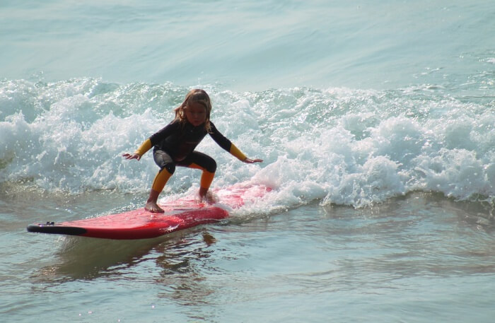 Surfing in water