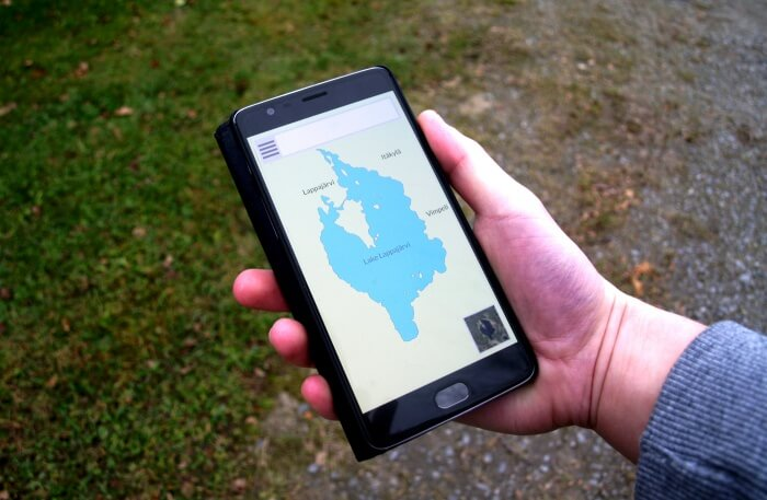 Smartphone with navigation map app