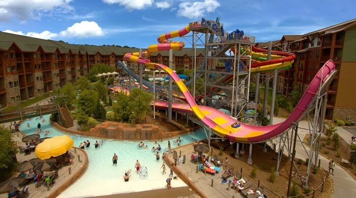 aerial view of the water park