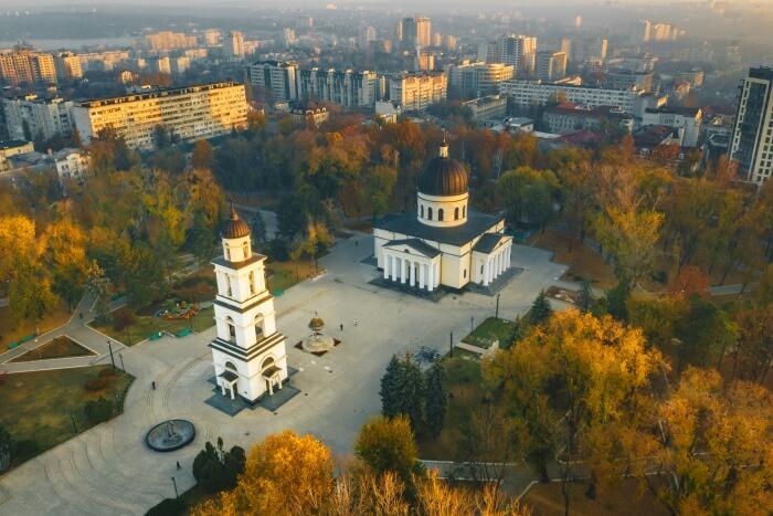 Bird's eye view of Chisinau