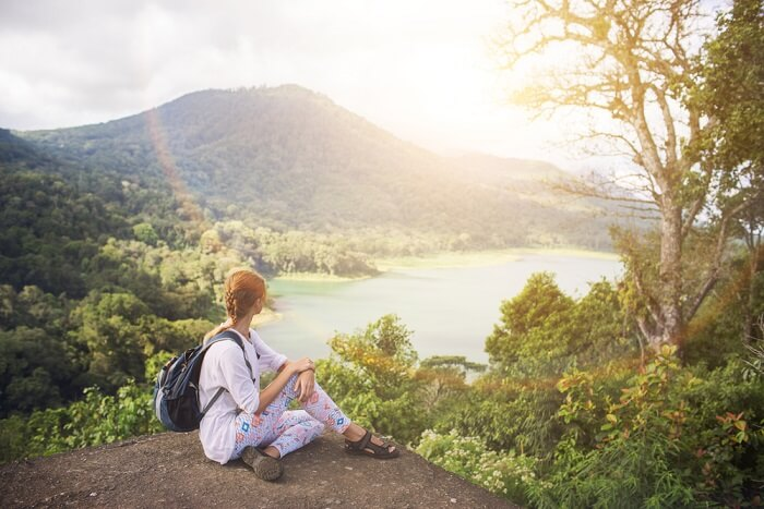 woman looking at the famous mount in Bali