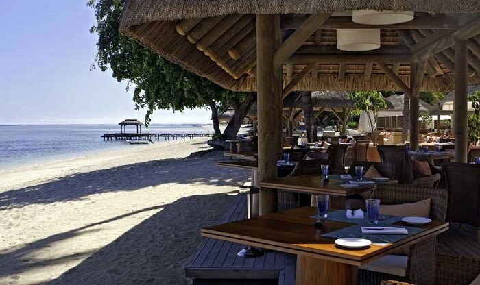 beautiful view from hilton restaurant in mauritius