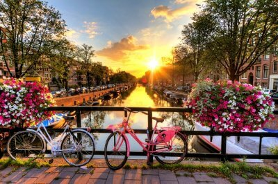 View of sunset in Amsterdam
